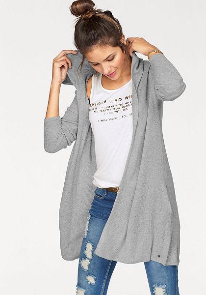 AJC Pletený svetr s kapucí, lehká žebrová pletenina