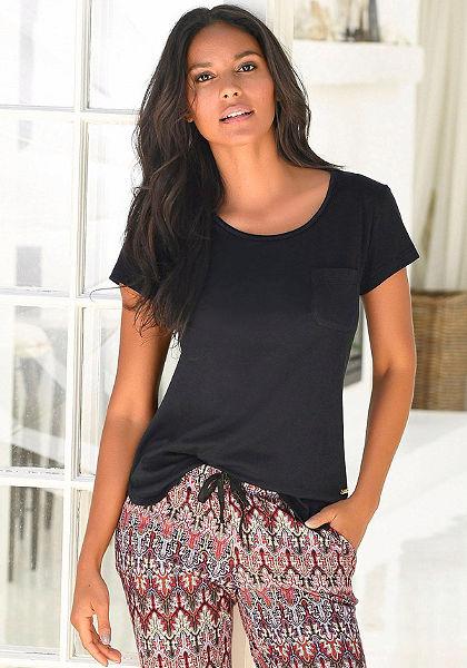 LASCANA Základní tričko s krátkým rukávem s kulatým výstřihem