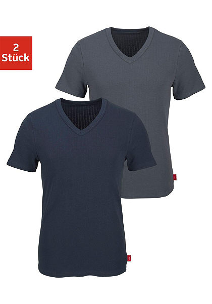 s.Oliver RED LABEL Formující tričko s výstřihem do V (2 ks) s barevným pásem