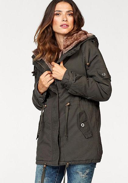 Laura Scott kabát kapucnival és legombolható műszőrmével