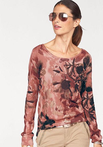 Laura Scott kereknyakú pulóver aranyozott mintával