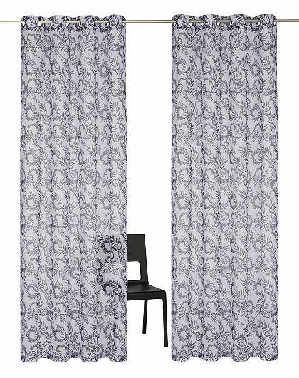Záclona, GMK Home & Living »modré listy Allover« s očky (2 ks)