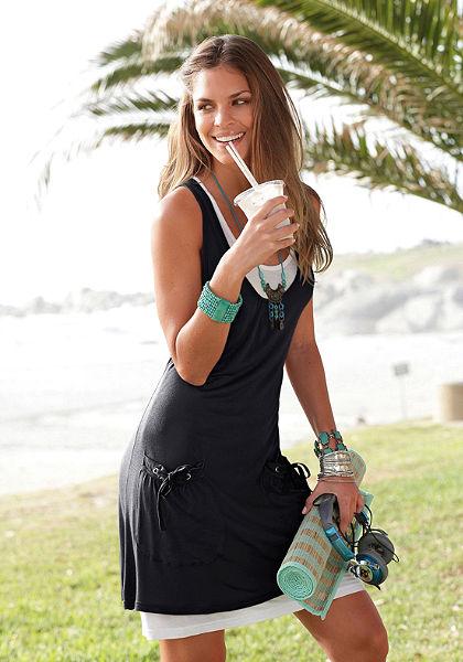 Beachtime Plážové šaty s ležérním dvouvrstvým vzhledem