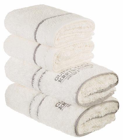 Guido maria kretschmer home & living Souprava ručníků, GMK Home & Living »Jale« s vyšívaným logem šedá - 4-dílná souprava (viz popis produktu)