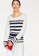 Laura Scott kereknyakú pulóver csíkkal és csipke részletekkel